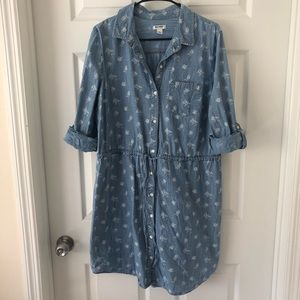Old Navy Button Down Blue Floral Dress in L
